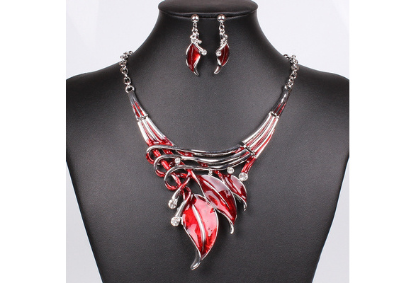 Moda Red Jewelry Sets Purple Enamel Jewelry statement Necklace And Earring Set Crystal Jewelry Set Fashion Leaves