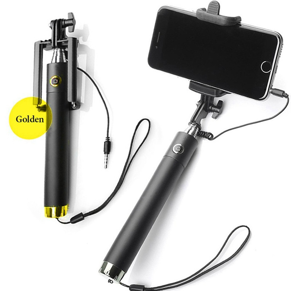 Folding wired selfi self stick monopod for samsung galaxy S5 note3 iphone 6 5S perche selfies selfiepod / Self-bar phone