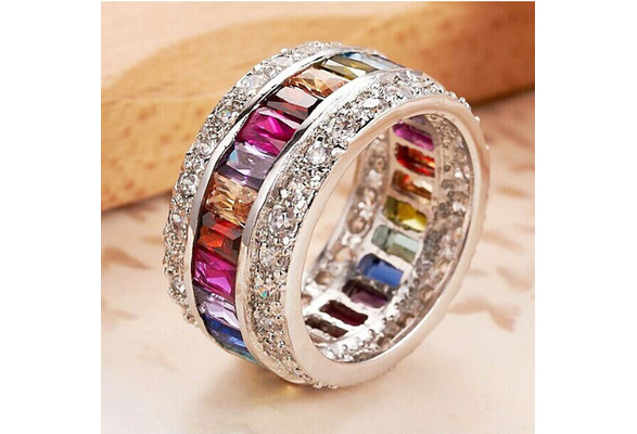 Size 6 7 8 9 10 10.7CT Woman Multicolor Gemstone Delicate Princess Bride S925 Sterling Silver Wedding Engagement Ring