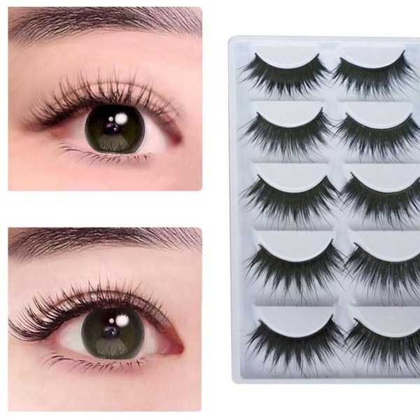 Picture of Natural Thick 5 Pairs Makeup False Eyelashes Long Handmade Eye Lashes Extension M01757 Color Black