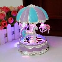 (US Stock) LED Light Merry-Go-Round Music Box Carousel(Random Color)