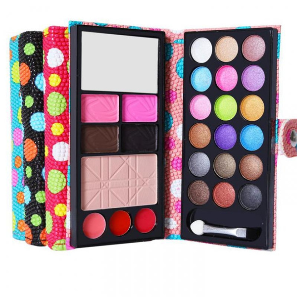 Picture of Professional 18 Color Eye Shadows + 2 Blush + Pressed Powder + 3 Lip Frozen + 2 Eyebrow Makeup Sets Wallet Eyeshadow