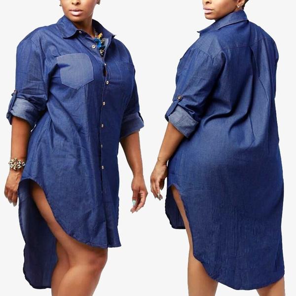 denim dress, Mini, Plus Size, Shirt