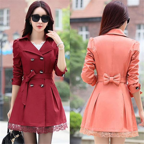 timeless design 40af2 66fec Hot Autumn Long Trench Coat for Women Lace Fashion British Style  Windbreaker Abrigos Mujer Coats 8 Color M-XXXL