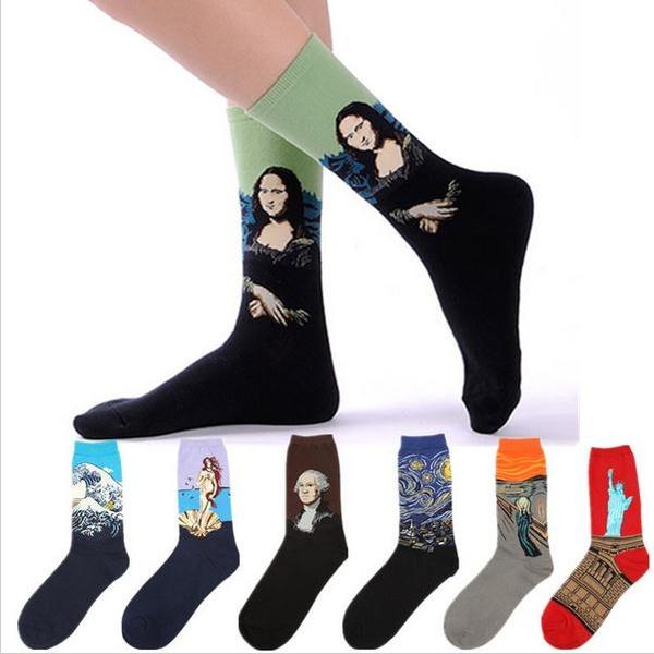 New Westen Cotton Unisex Men Women Socks Mona Lisa Painting Stockings 44cm Big Calcetines