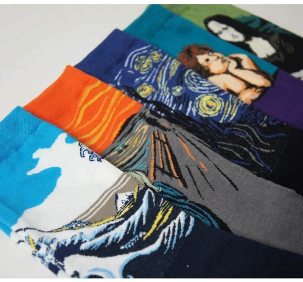 New Westen Cotton Unisex Men Women Socks Mona Lisa Painting Stockings 44cm Big Calcetines