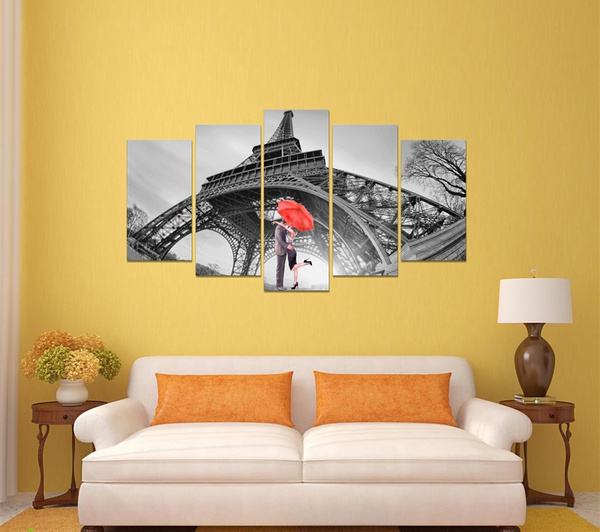 Wish | 5 Panel Canvas Art Eiffel Tower Red Umbrellas Couple, canvas ...