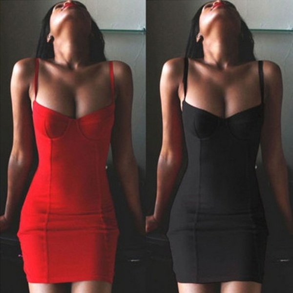 Picture of Newest Sexy Red Suspenders Slim Bodycon Dresses Hip Packages Skirt Short Dresses