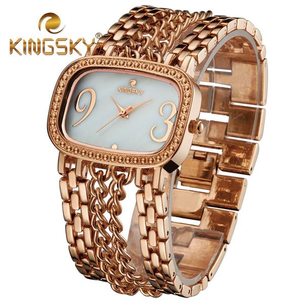 b427fa3b0308 Kingsky aleacion Rosa Sweety Girl Friend reloj de cuarzo de oro rosa de la  muneca de regalo Cuatro Cadena Banda Numero de Big Diseno