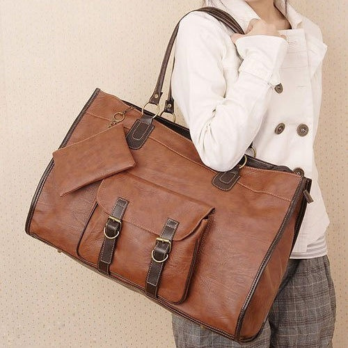 Picture of Vintage Women Pu Leather Large Bags Shoulder Handbag Travel Tote Purse Book Bags Color Brown