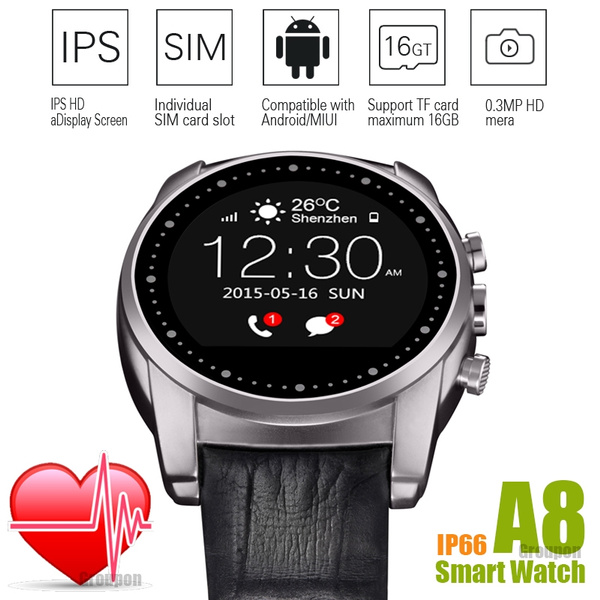 A8 Smart Phone Watch Support Micro SIM Card APK is Compatible with Android  and MIUI System Heart Rate Monitor Round Steel Dial