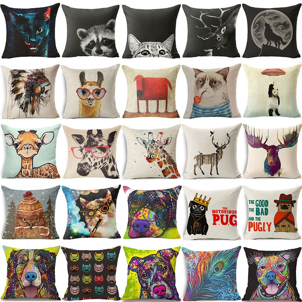 Picture of 18 Inch Square Cotton Linen Tribe Indian Skull Throw Pillow Cases Car Home Decor Sofa Cushion Cover
