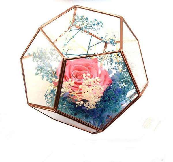 Wish Retro Style Rose Gold Color Wedding Decoration Glass