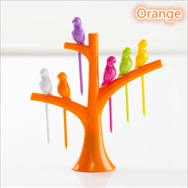 6 Pcs/lot Vogue Home Decor Party Bird Fruit Snack Dessert Forks Tool Tree Shape Rack