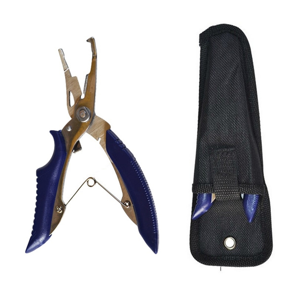 Stainless Steel Fishing Pliers Scissors Hook Remove Line Cutter Tackle Tool With Nylon Bag