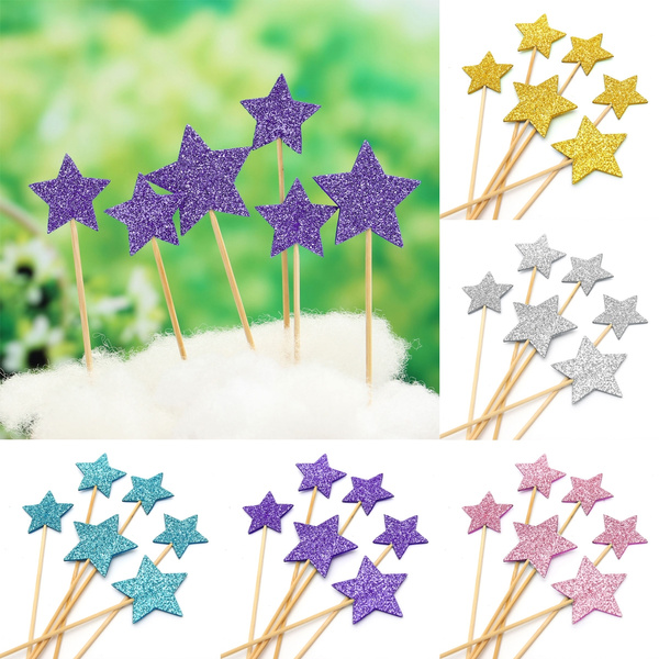Picture of Baby Bunting Banner Kit Topper Cup Cake Flags Picks Shower Birthday Party Decor Star