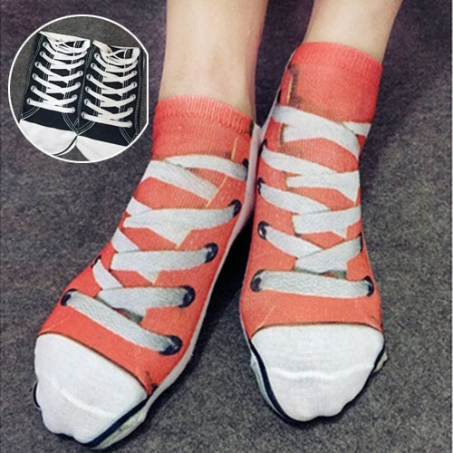 2 Color Men and Women Personality Fashion Creative 3 D Printing Shoelaces Shoes Cotton Lovers Socks