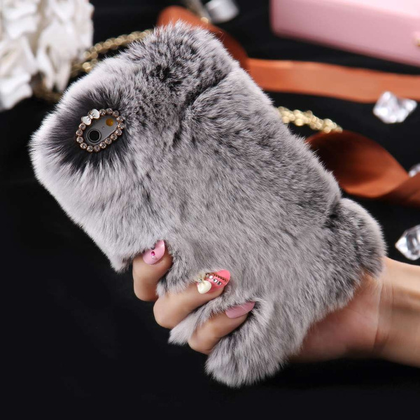 pretty nice 2b7e6 ca459 Newest Fluffy Fur Phone Case Glitter Crystal Bow Winter Case for iPhone 7 7  Plus 5 5s 6 6S 6 Plus Samsung Galaxy S8 S8 Plus S7 S7 Edge J3 J5 J7 etc ...