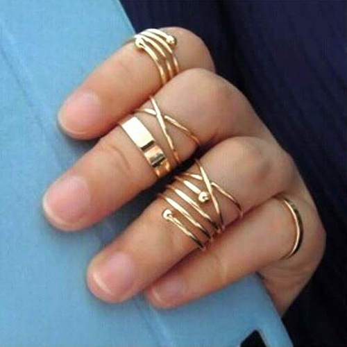 Picture of 6pcs/set Stylish Rings Urban Gold Stack Plain Slim Band Midi Ring Above Knuckle Ring