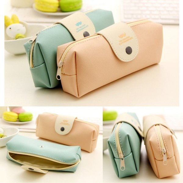 Picture of Candy Color Pencil Bag Case Pu Leather Stationery Storage Bag