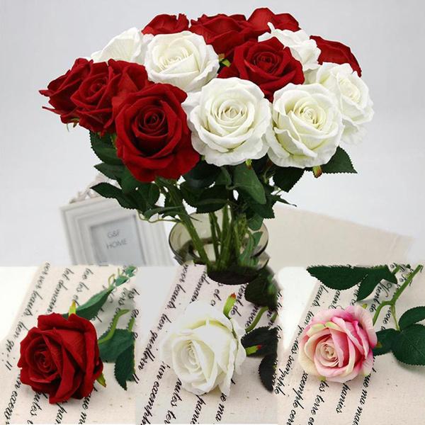Velvet Rose Flower Wedding Artificial Flowers Marriage Decor DIY Bridal Bouquet