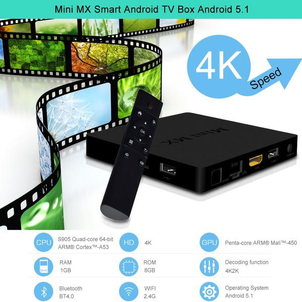 Mini MX Smart TV Box Android 5 1 S905 Quad-core 64-bit ARM® Cortex -A53 1G  / 8G Kodi / XBMC / Miracast / DLNA H 265 4K * 2K 2 4G WiFi Bluetooth 4 0