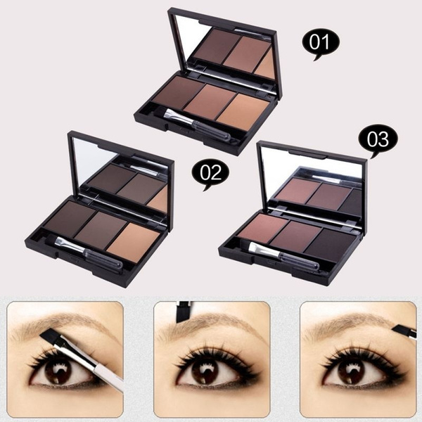 Picture of Professional Kit 3 Colour Eyebrow Powder/shadow Palette Enhancer W/ Ended Brush