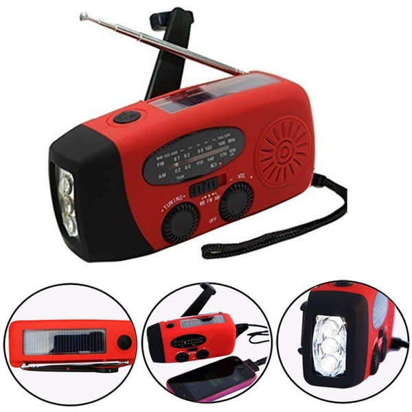 Picture of Dynamo Emergency Solar Hand Crank Self Powered Am/fm/wb/noaa Weather Radio Led Flashlight Smart Phone Charger Power Bank With Cables