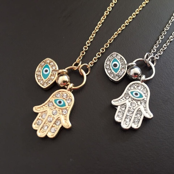 Women Men Fashion Personality Crystal Diamonds The Hand of Fatima Blue Eyes, Alloy Necklace Jewelry Accessories