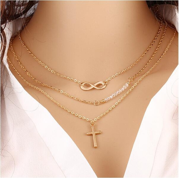 Women's Accessories Jewelry Fashion Gold Temperament Multilayer Metal Cross Pendants Three Layers Turquoise Chain Necklace  (Size: 1)