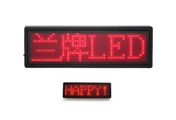 LED programmabile Scrolling Name Messaggio Badge Tag Digital Display Inglese