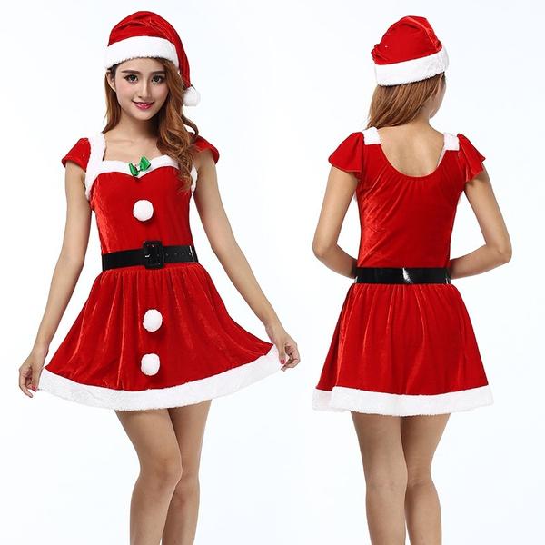 b39b076655b1 Women Sexy Santa Christmas Costume Fancy Dress Xmas Office Party ...