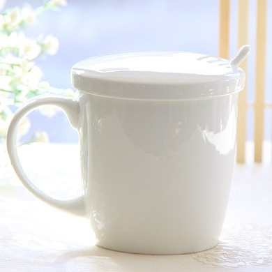 350ml Ceramic Bone China Moming Cup Small Enamel Mug Coffee Cups Cute Mugs With Lid And Spoon