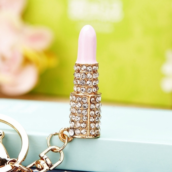 Fashion Cute Lady's Gold-plated Imitated Crystal Lipstick Keyring Pendant Bag Purse Decor Car Key Chain