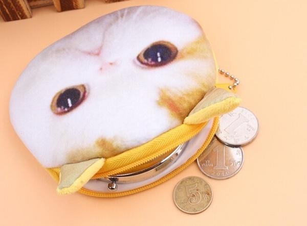 Girls Women Fashion Creative Lovely Funny Cat Head Cartoon Kitten Purse Key Package COIN Key Case Bag Change Wallet Purses