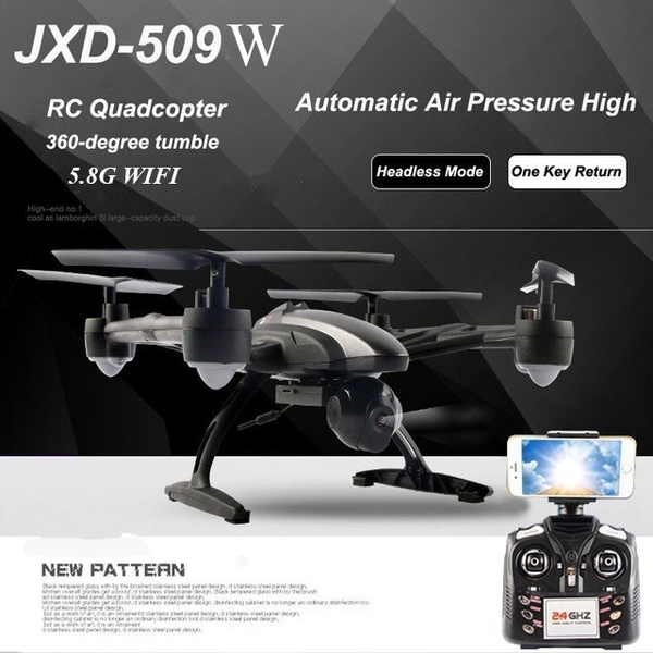 Picture of Aerial Photography Rc Drone Jxd 509w Wifi Fpv Rc Quadcopter With 0.3mp Camera 6-axis Gyro High Hold Cf Mode One Key Return Drone Mobilephone Control Toy Size Wifi Fpv With 0.3mp Camera Color Black
