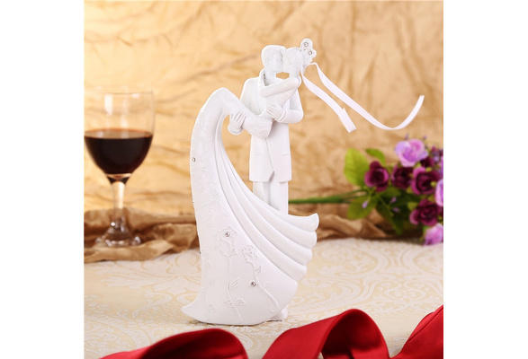 Wedding Cake Topper Bride And Groom Resin White Color Wedding Decoration Casamento Cakes Stand Accessories Valentine day Gift
