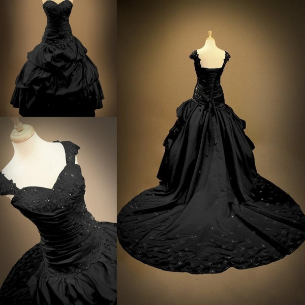 Ball Gowns Backless Sweetheart Bridal Plus Size Gothic Black Wedding  Dresses With Cap Sleeves 2017