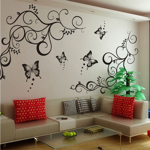 Picture of Removeable Vinyl Wall Decal Stickers Butterfly Flower Leaf Mural Bedroom