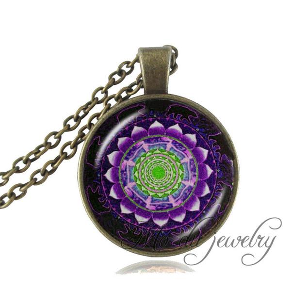 Purple Green Balck Mandala Necklace Indian Om Flower Spiritual Jewelry  Meditation Yoga Pendant Glass Dome Necklace For Women Men