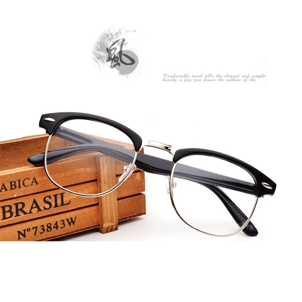 Picture of Vintage Horned Rim Half Frame Clubmaster Clear Lens Reading Glasses