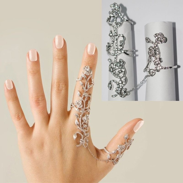 Rock Double Armor Knuckle Full Finger Gothic Ring