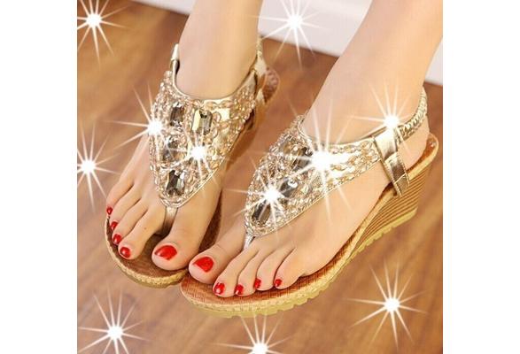 Summer New High Quality Fashion Shiny Rhinestone Women Sandal Wedge Ladies Sandals Shoes Sandalias Gold Silver
