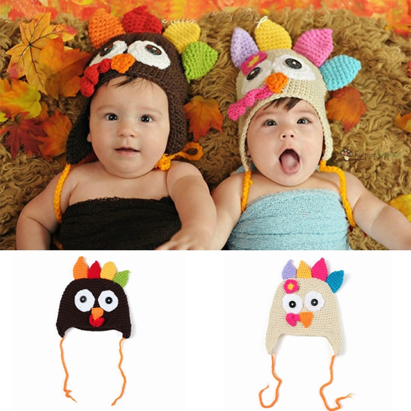 297e3e788aa67 New Fashion Baby Boys Girls Winter Turkey Hats Crochet Warm Beanie Infants  Photography Props Cap (Color:Brown,Beanie)
