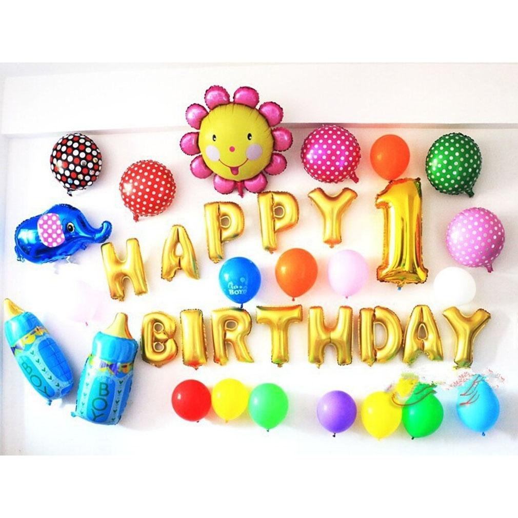 New 13pcs Lot Letters Happy Birthday BALLOON Aluminum Foil Balloon Baby Decoration Alphabet