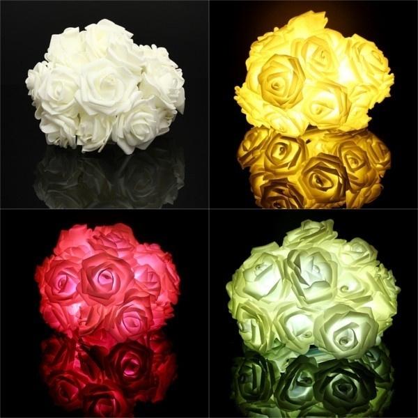 Wish 20 Led Guirlande Rose Fleur Lumineuse Mariage Party Xmas Noel