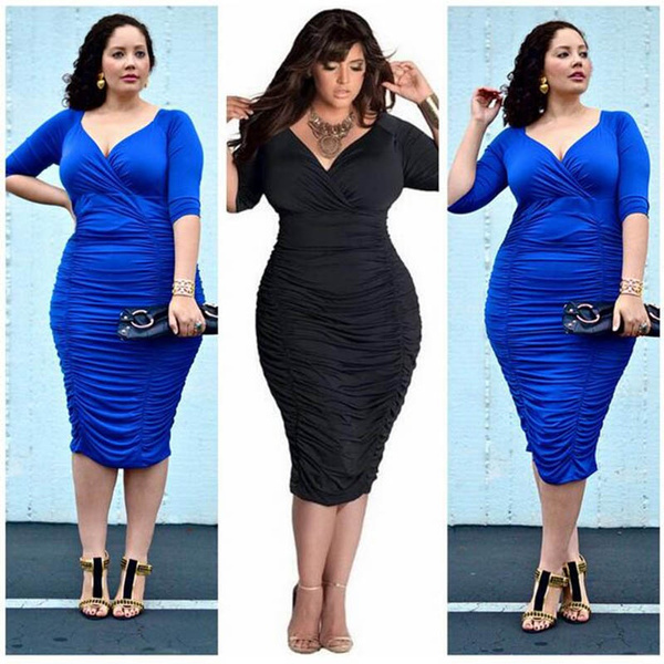 Plus size Bodycon bandage dress BBW women long sleeve v-neck summer dress  women casual party mini dress