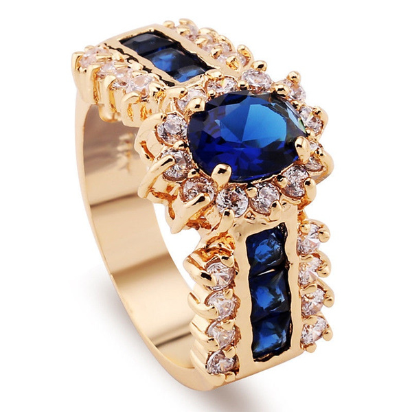 Luxury 14kt Filled Zircon Blue Sapphire Wedding Rings Bridal Gift