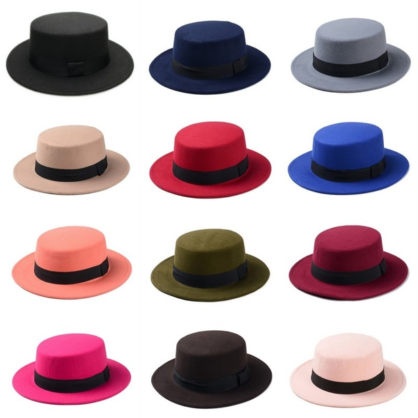 Unisex Fashion Fedora Retro Felt Flat Dome Oval Top Porkpie Bowler Hat
