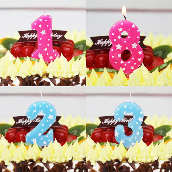 Picture of Fashion Kids Birthday Cake Arabic Numbers Decoration Candles Party Anniversary Candles Birthday Party Supplies